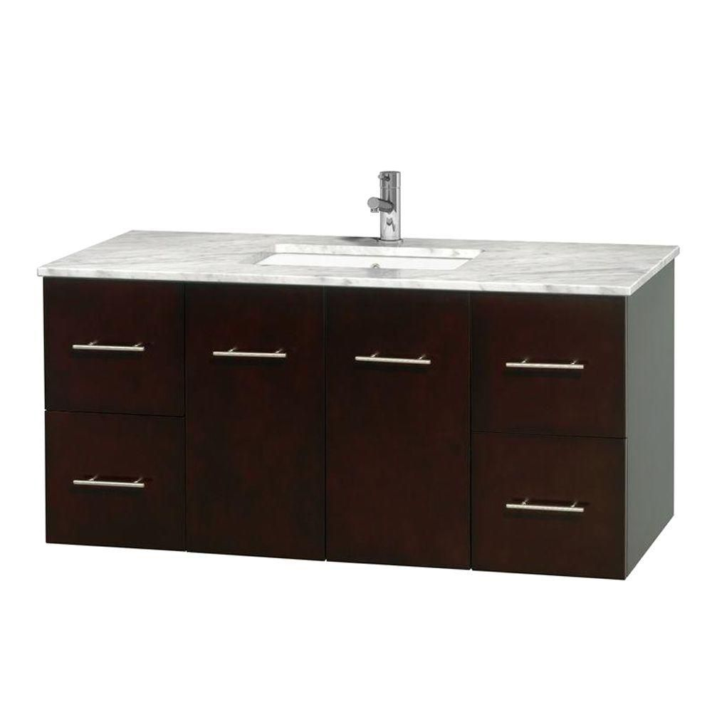 Centra 48-inch W Vanity in Espresso with White Top with Square Basin