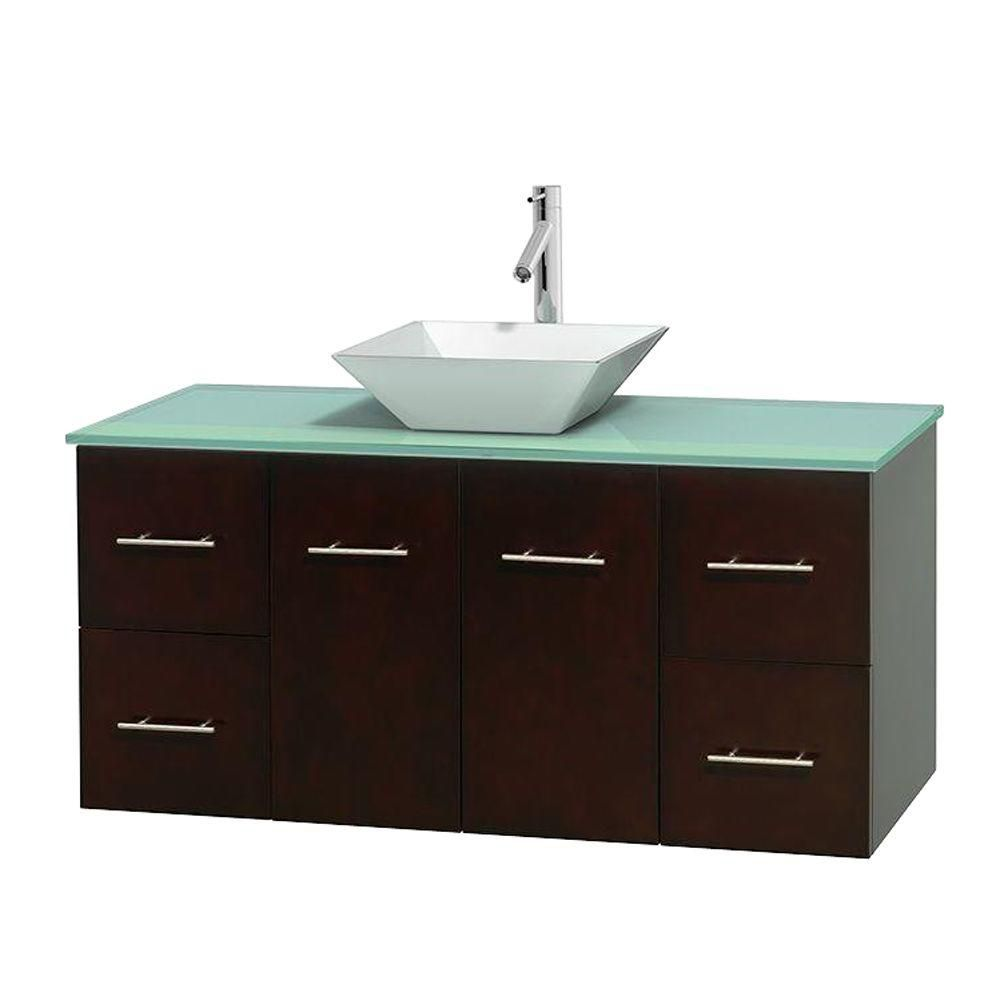 Centra 48-inch W Vanity in Espresso with Glass Top with White Basin
