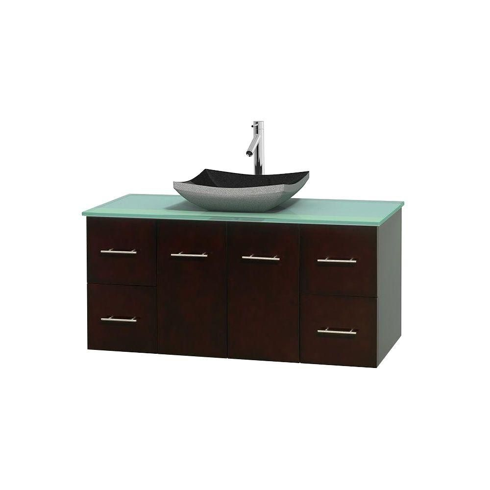 Centra 48-inch W 4-Drawer 2-Door Wall Mounted Vanity in Brown With Top in Green