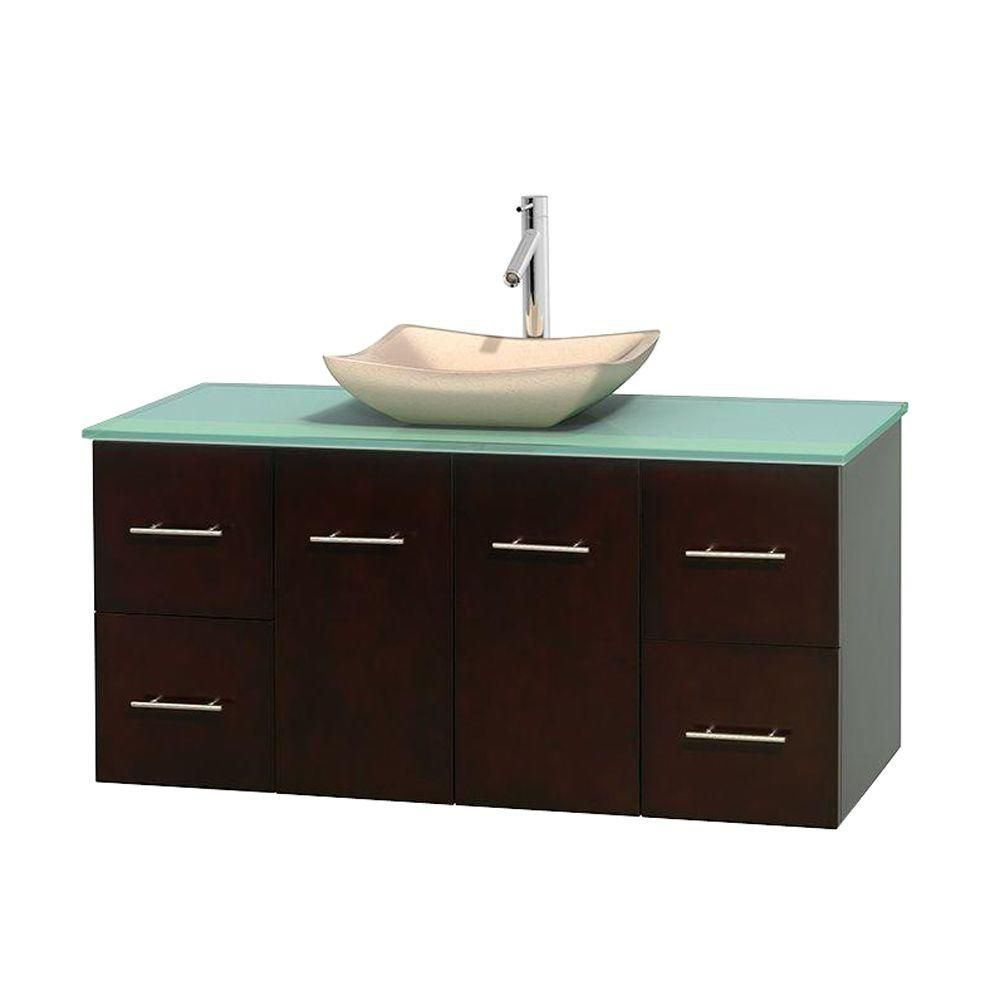 Centra 48-inch W Vanity in Espresso with Glass Top with Ivory Basin