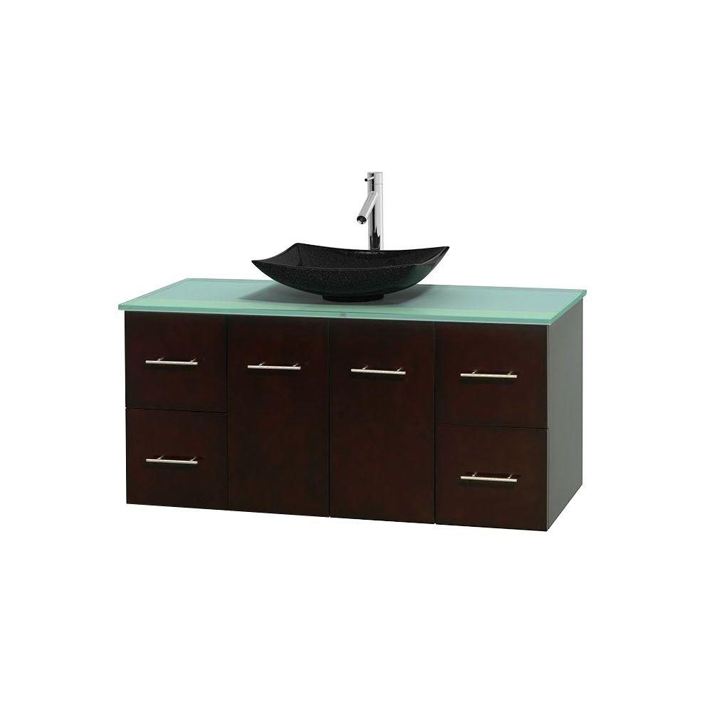 Centra 48-inch W Vanity in Espresso with Glass Top with Black Basin