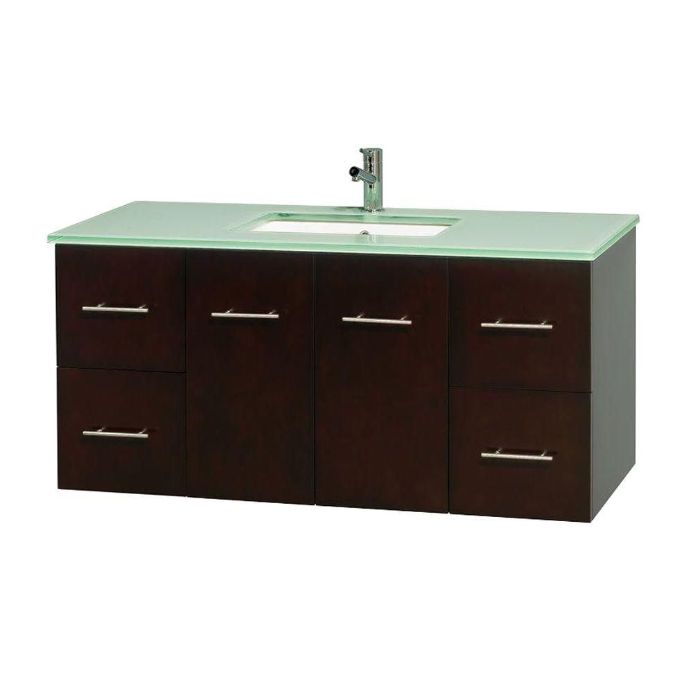 Centra 48-inch W Vanity in Espresso with Glass Top with Square Basin