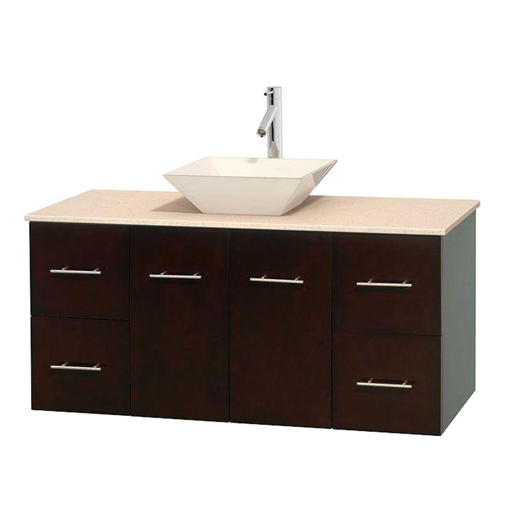 Meuble unique Centra 48 po. espresso, comptoir marbre ivoire, lavabo porcelaine bone sans miroir