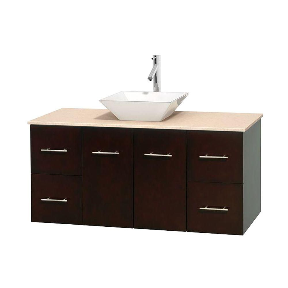 Meuble unique Centra 48 po. espresso, comptoir marbre ivoire, lavabo porcelaine blanche sans miro...