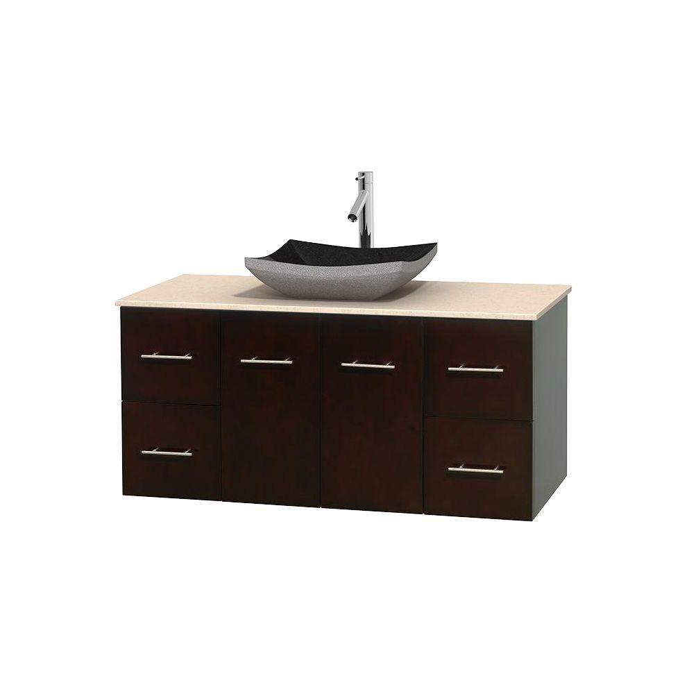 Meuble simple Centra 48 po. espresso, comptoir marbre ivoire, lavabo granit noir, sans miroir