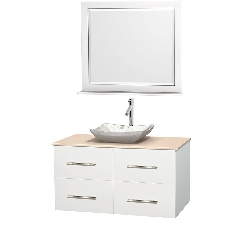 Meuble simple Centra 42 po. blanc, comptoir marbre ivoire, lavabo blanc Carrare, miroir 36 po.