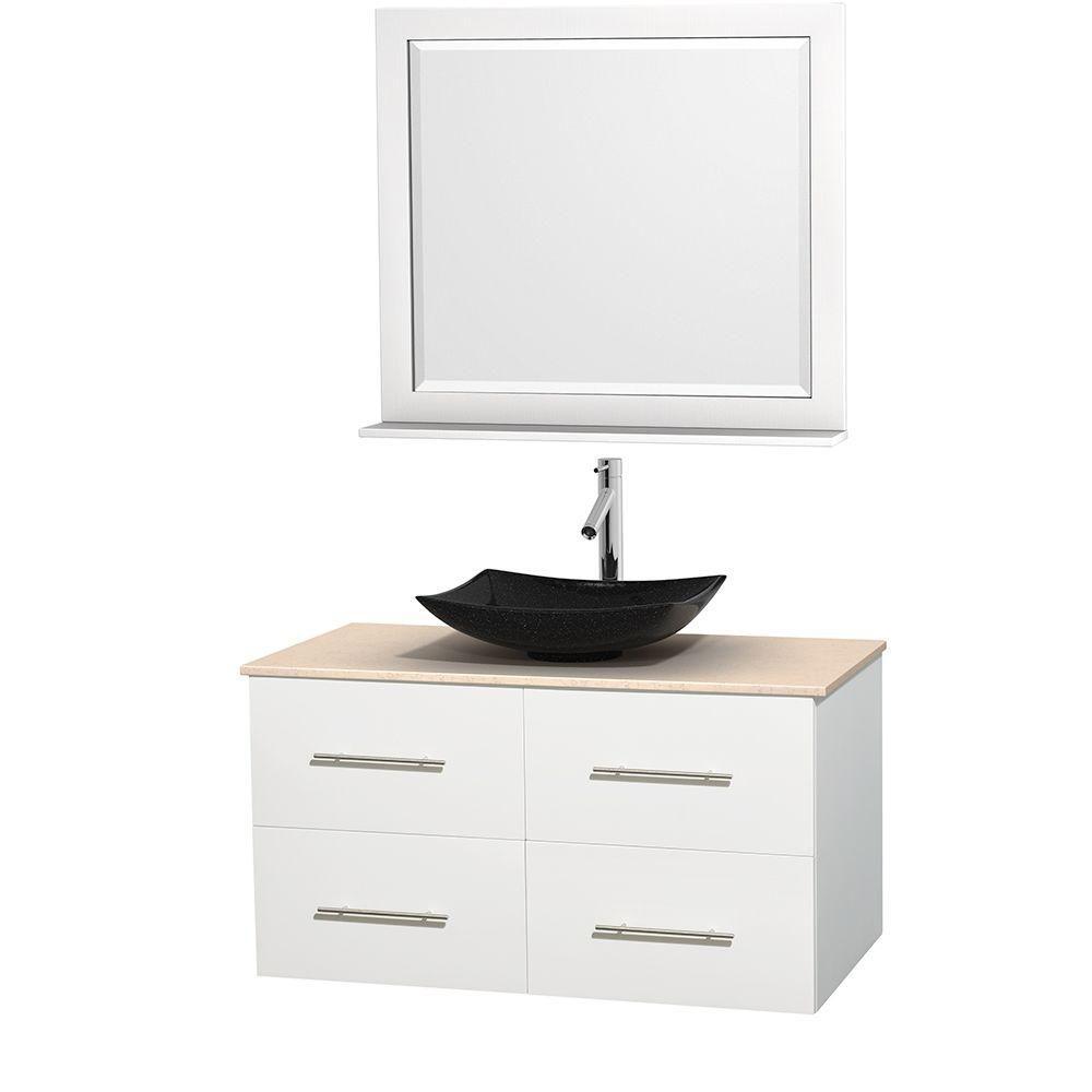 Meuble simple Centra 42 po. blanc, comptoir marbre ivoire, lavabo granit noir, miroir 36 po.