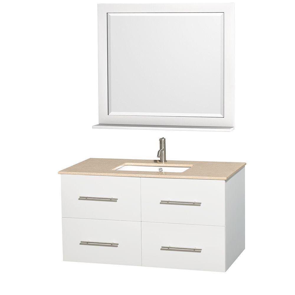 Meuble unique Centra 42 po. blanc, comptoir marbre ivoire, lavabo carré, miroir 36 po.