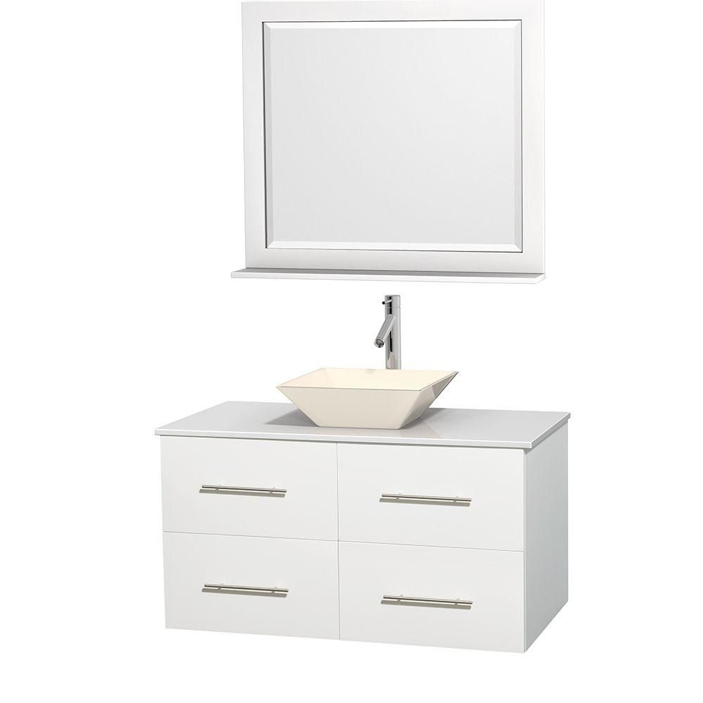 Centra 42 In. Single Vanity in White with Solid SurfaceTop with Bone Porcelain Sink and 36 In. Mirror WCVW00942SWHWSD2BM36 in Canada
