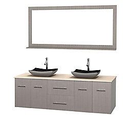 Wyndham Collection Centra 72-inch W 2-Drawer 4-Door Wall Mounted Vanity in Grey With Marble Top in Beige Tan, 2 Basins