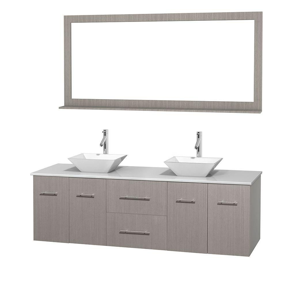 Meuble double Centra 72 po. chêne gris, comptoir solide, lavabos porcelaine blanche, miroir 70 po...