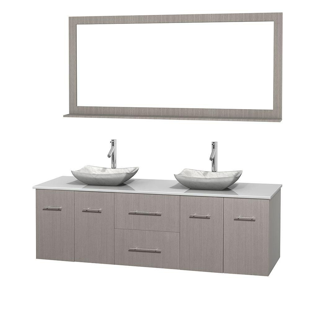 Centra 72-inch W Double Vanity in Grey Oak with Solid Top with White Basins and Mirror