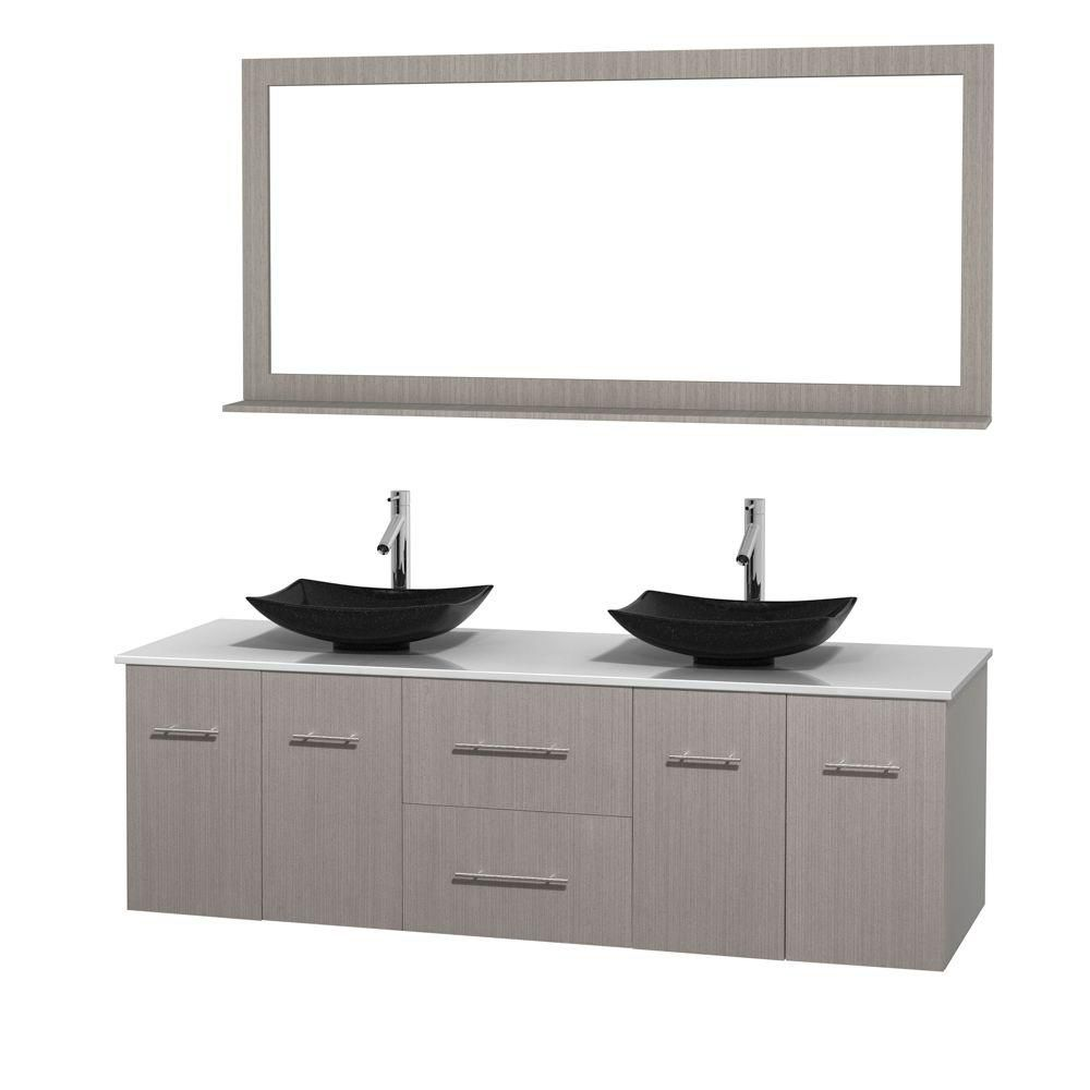Centra 72-inch W Double Vanity in Grey Oak with Solid Top with Black Basins and Mirror