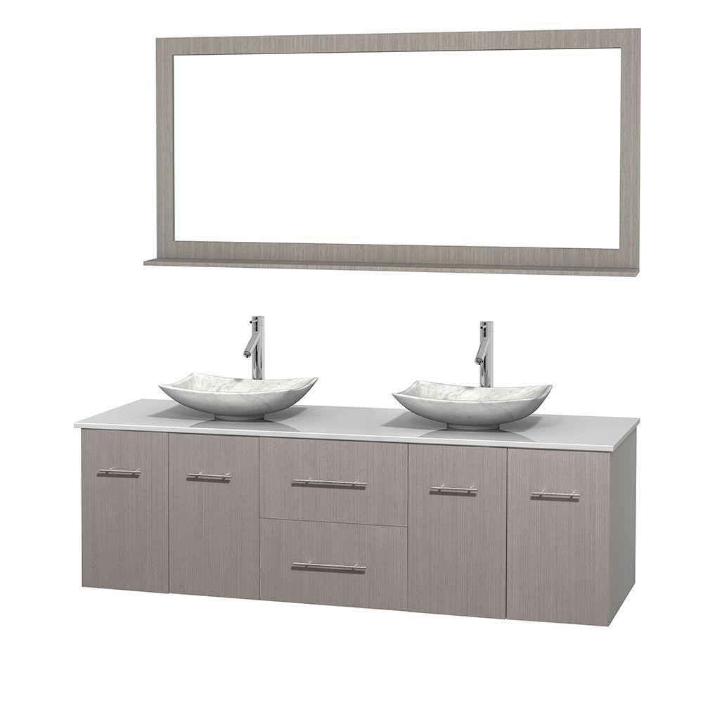 Meuble double Centra 72 po. chêne gris, comptoir solide, lavabos blanc Carrare, miroir 70 po.