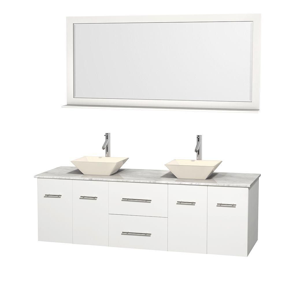 Centra 72-inch W Double Vanity in White with White Top with Bone Basins and Mirror