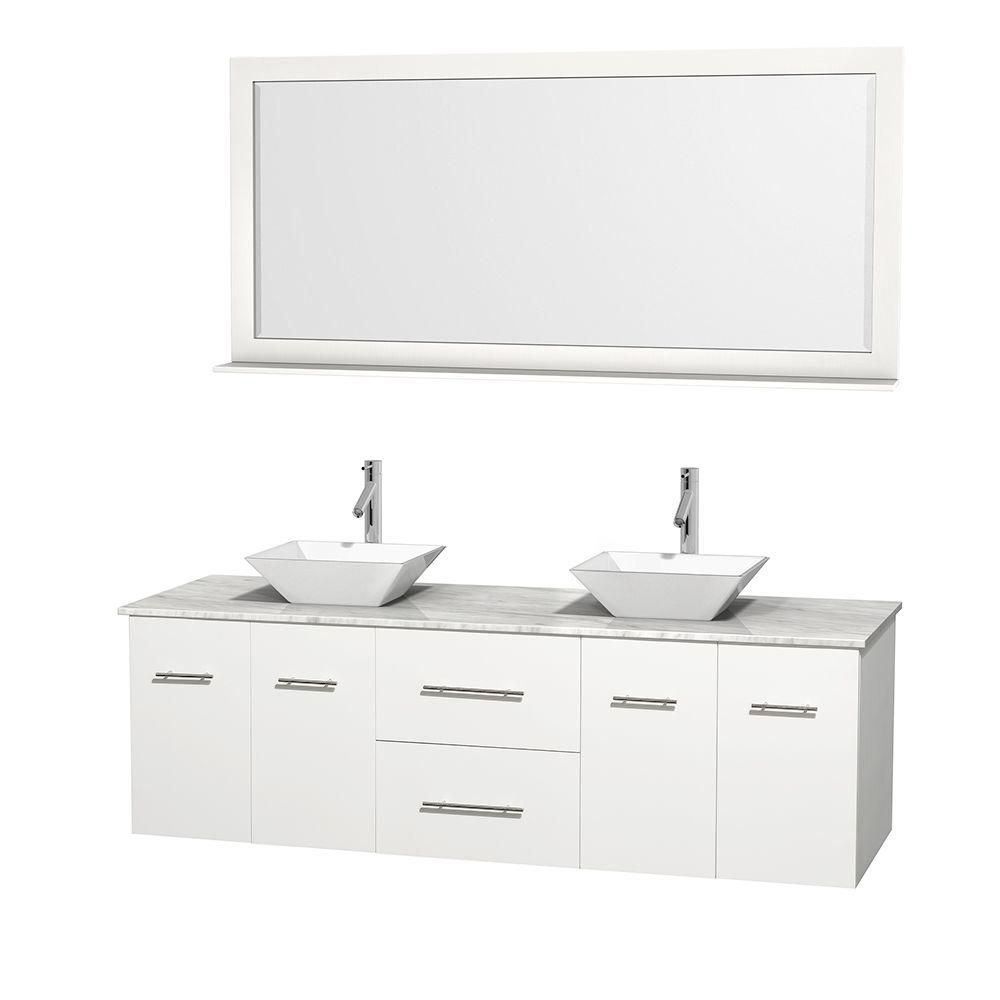 Centra 72-inch W Double Vanity in White with White Top with White Basins and Mirror