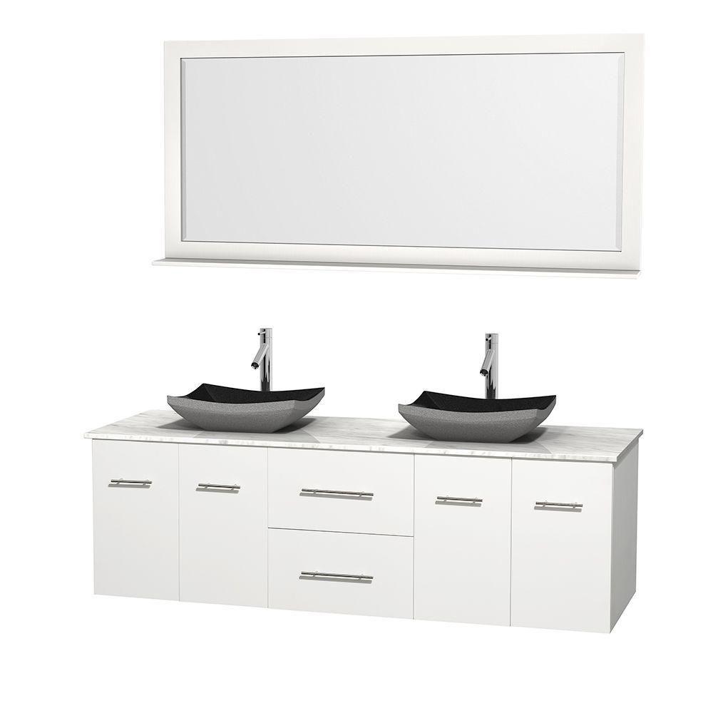 Meuble double Centra 72 po. blanc, comptoir blanc Carrare, lavabos granit noir, miroir 70 po.