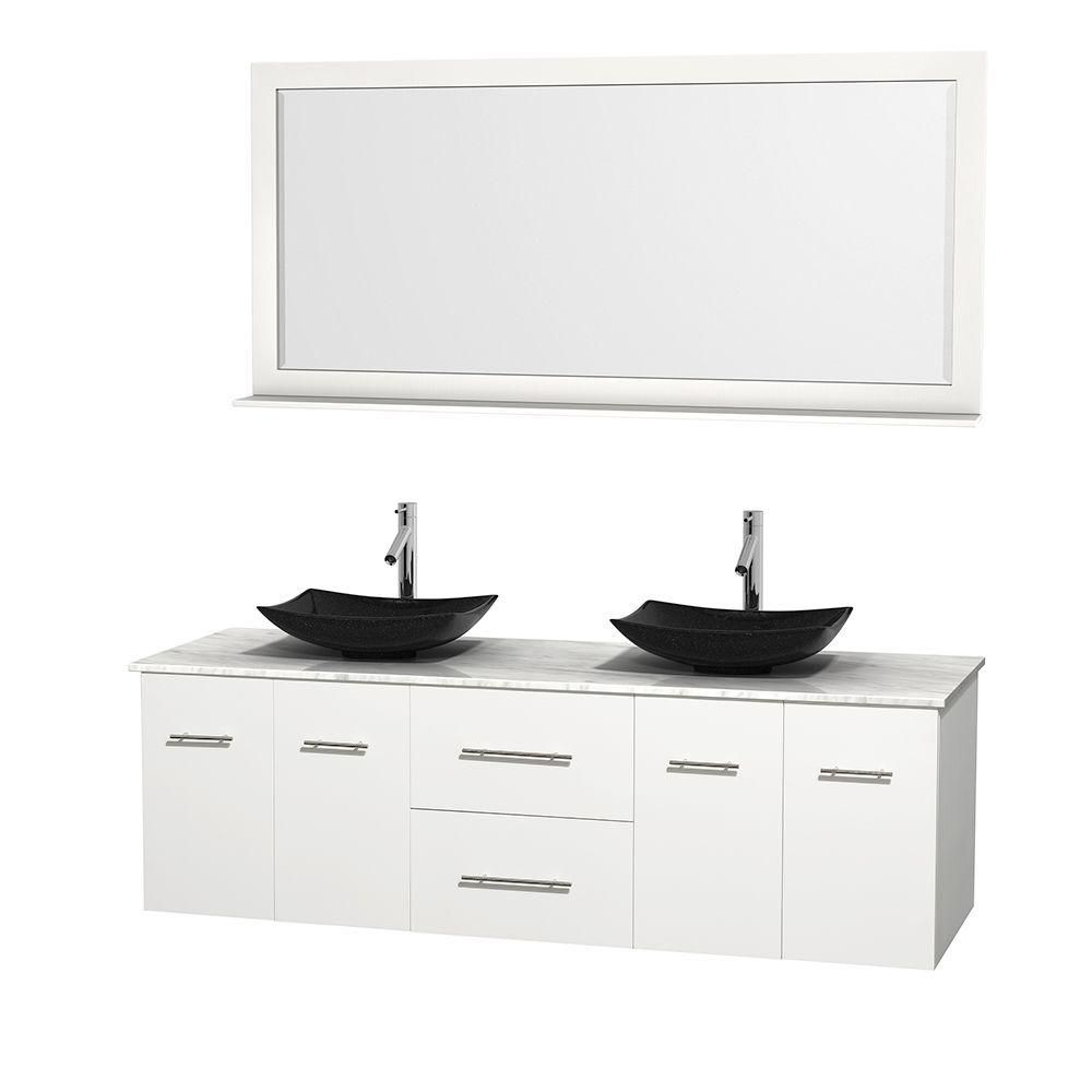 Centra 72-inch W Double Vanity in White with White Top with Black Basins and Mirror