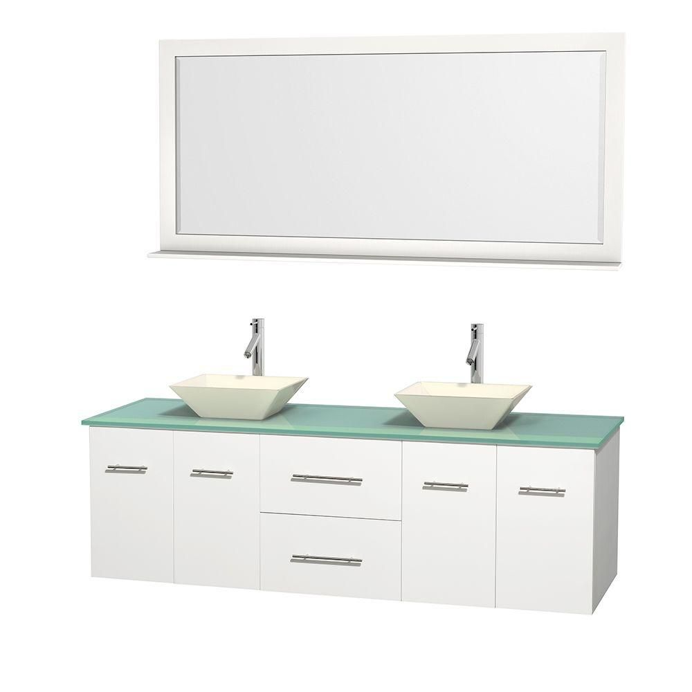 Centra 72-inch W Double Vanity in White with Glass Top with Bone Basins and Mirror