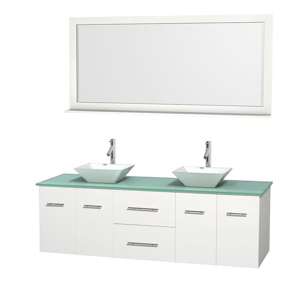 Centra 72-inch W Double Vanity in White with Glass Top with White Basins and Mirror