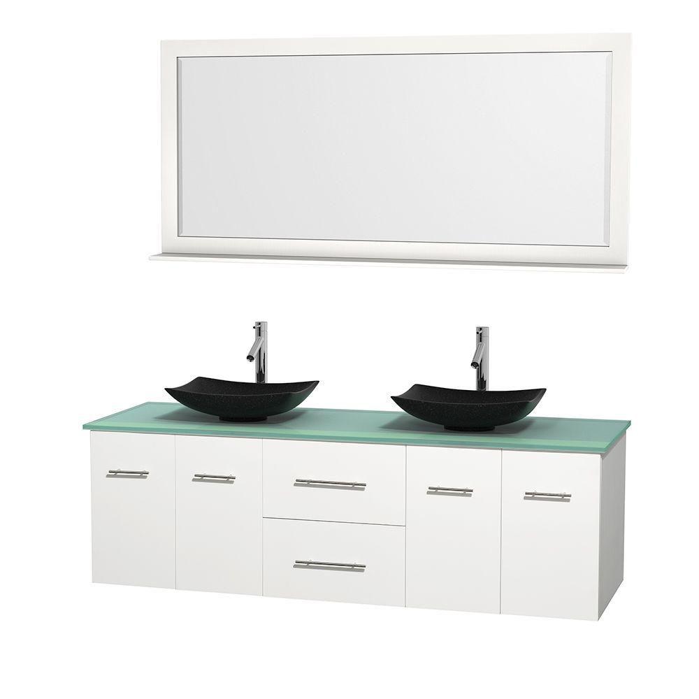 Meuble double Centra 72 po. blanc, comptoir verre vert, lavabos granit noir, miroir 70 po.