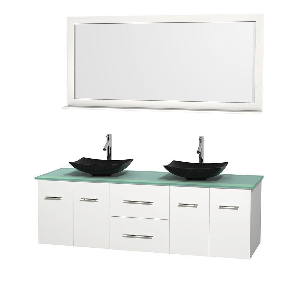 Centra 72-inch W Double Vanity in White with Glass Top with Black Basins and Mirror