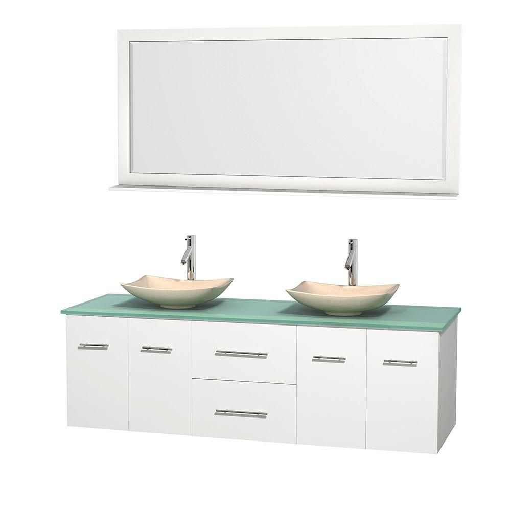 Centra 72-inch W Double Vanity in White with Glass Top with Ivory Basins and Mirror
