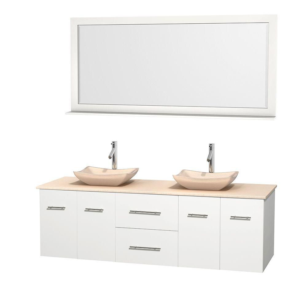 Centra 72-inch W 2-Drawer 4-Door Wall Mounted Vanity in White With Marble Top in Beige Tan, 2 Basins