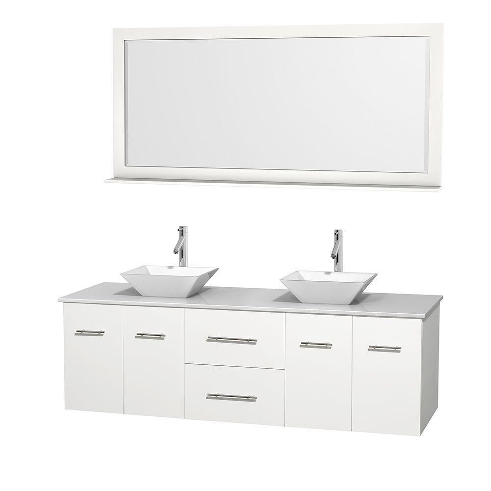 Meuble double Centra 72 po. blanc, comptoir solide, lavabos porcelaine blanche, miroir 70 po.