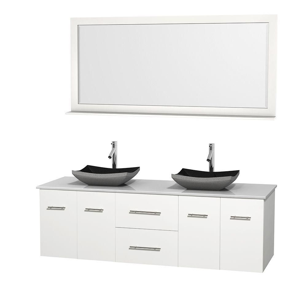 Centra 72-inch W Double Vanity in White with Solid Top with Black Basins and Mirror
