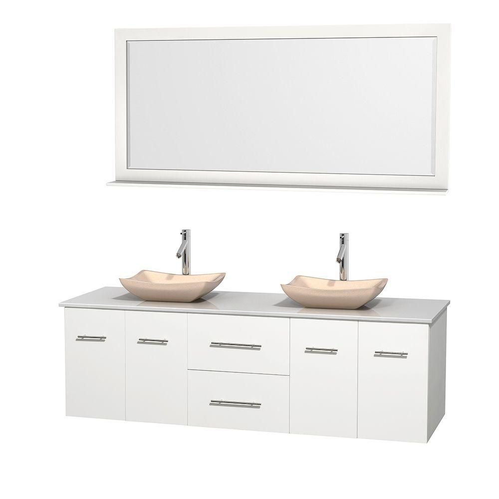 Centra 72-inch W Double Vanity in White with Solid Top with Ivory Basins and Mirror