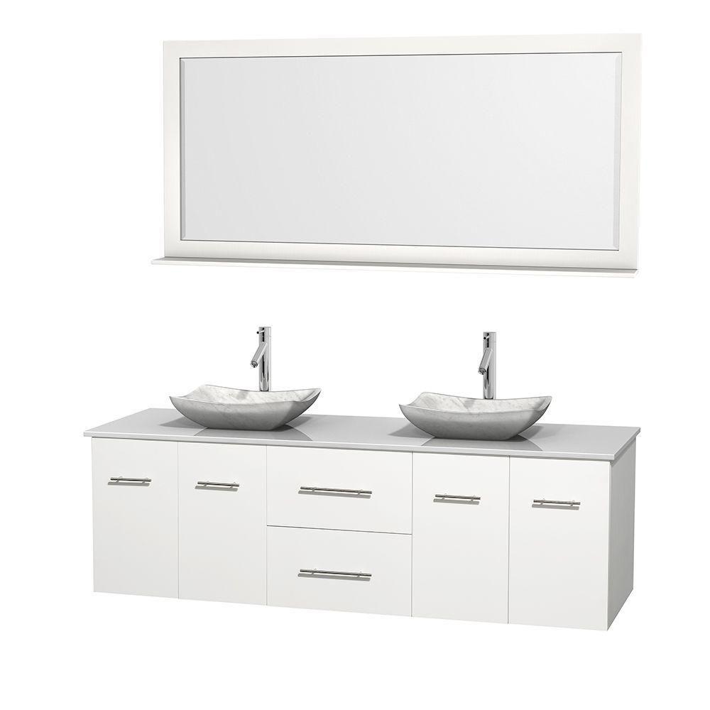 Meuble double Centra 72 po. blanc, comptoir solide, lavabos blanc Carrare, miroir 70 po.