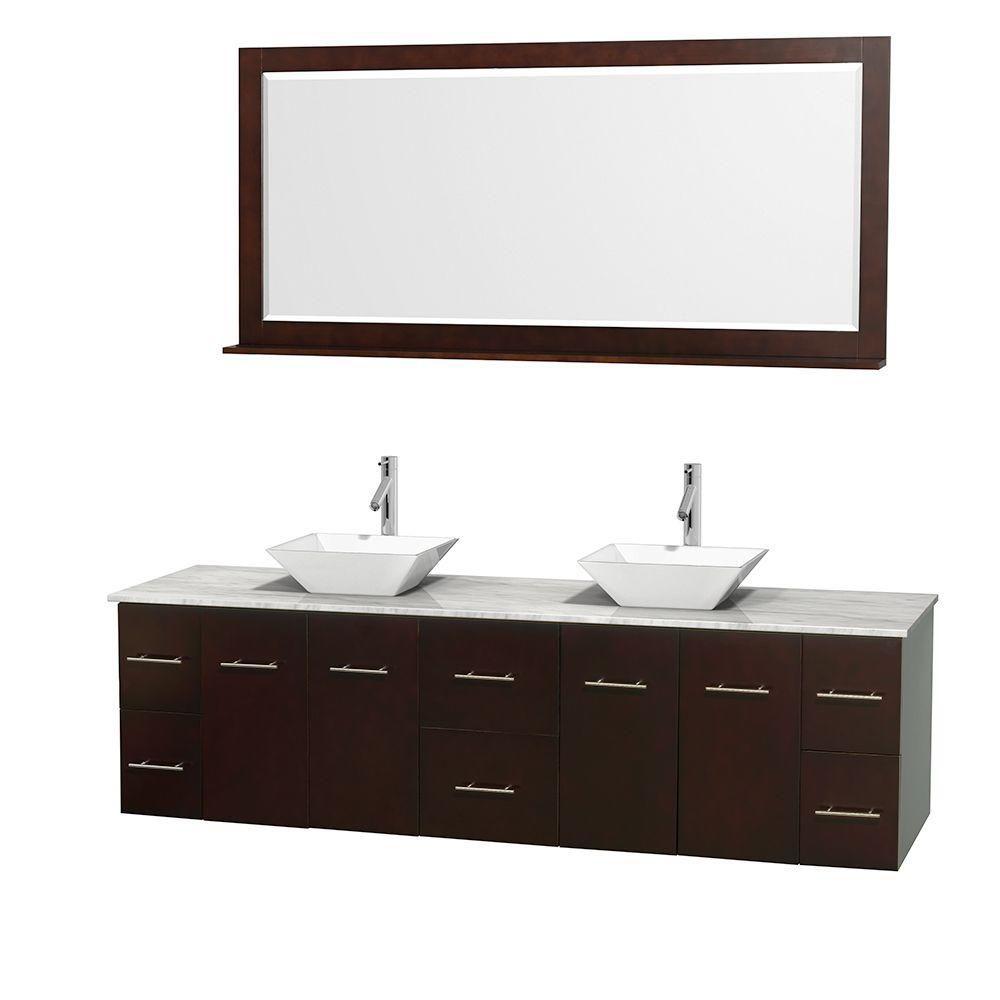 Meuble double Centra 80 po. espresso, comptoir blanc Carrare, lavabos porcelaine blanche, miroir ...
