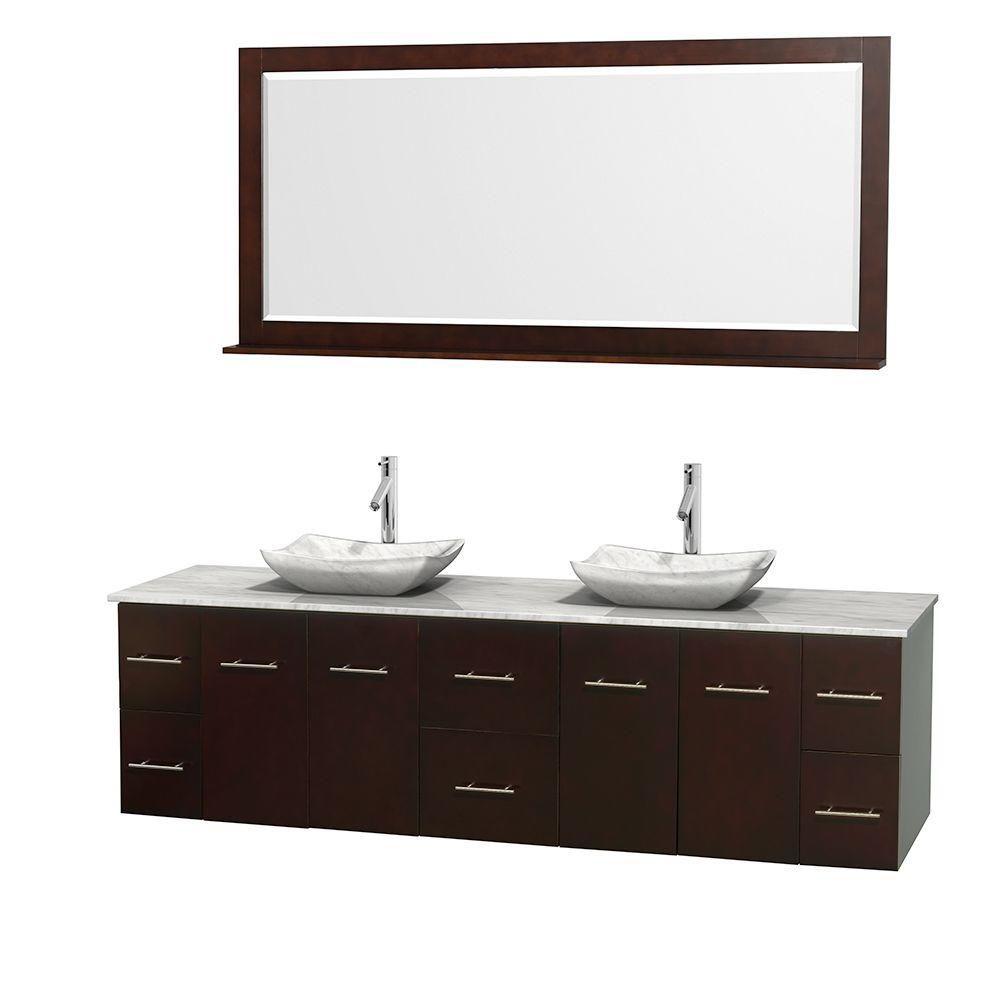 Meuble double Centra 80 po. espresso, comptoir blanc Carrare, lavabos blanc Carrare, miroir 70 po...