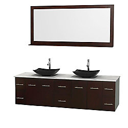 Wyndham Collection Centra 80-inch W 6-Drawer 4-Door Wall Mounted Vanity in Brown With Marble Top in White, 2 Basins