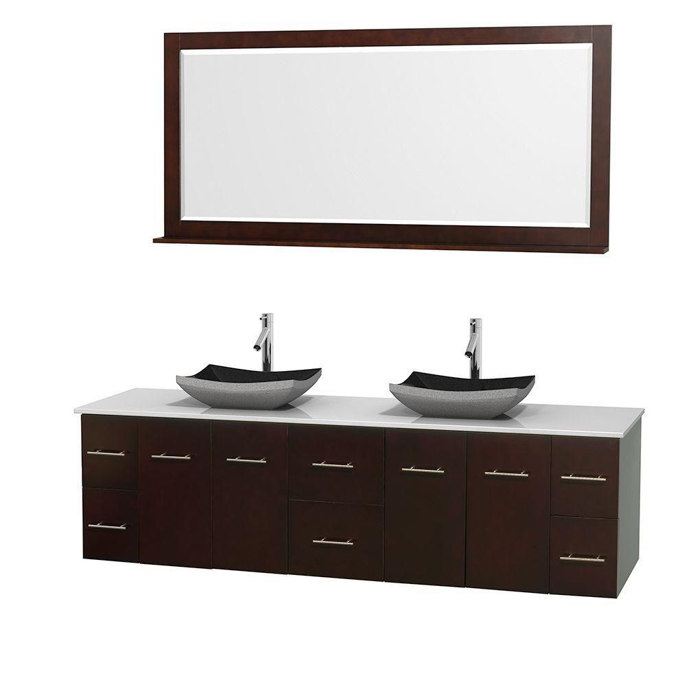 Meuble double Centra 80 po. espresso, comptoir solide, lavabos granit noir, miroir 70 po.