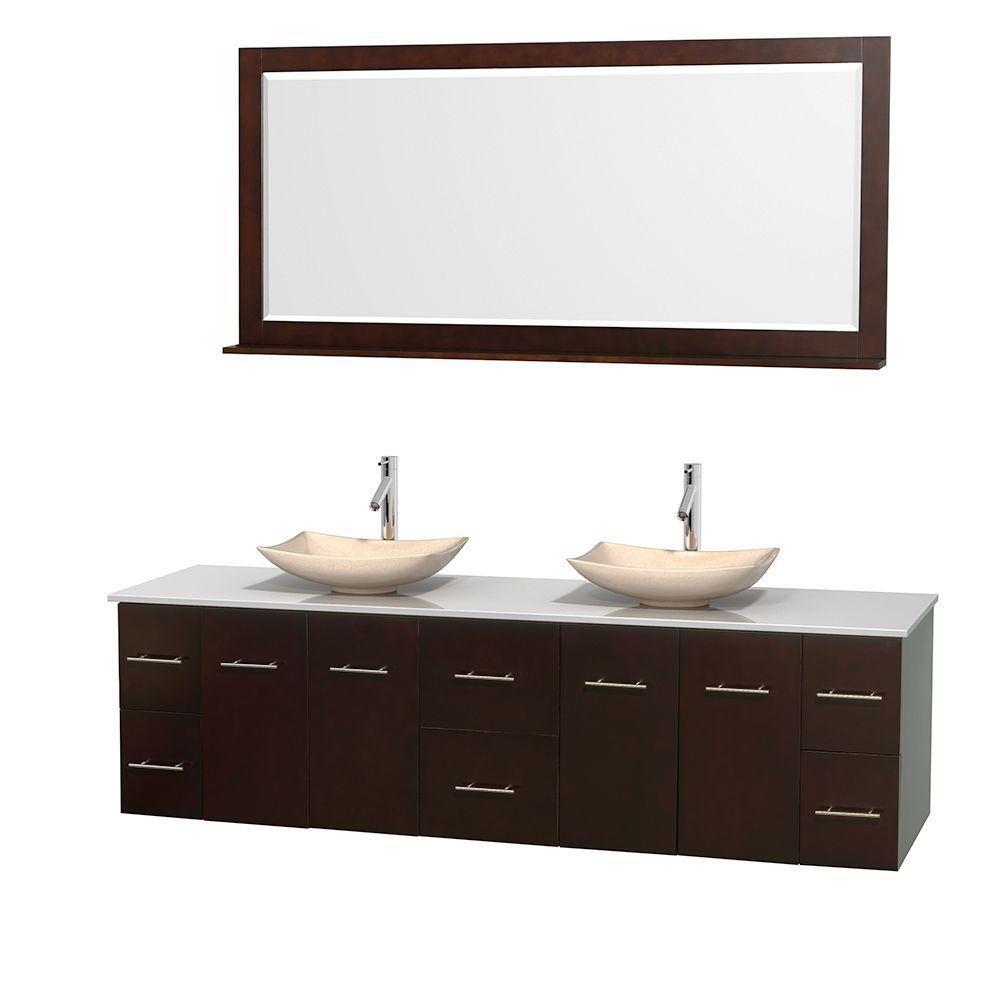 Meuble double Centra 80 po. espresso, comptoir solide, lavabos ivoire, miroir 70 po.