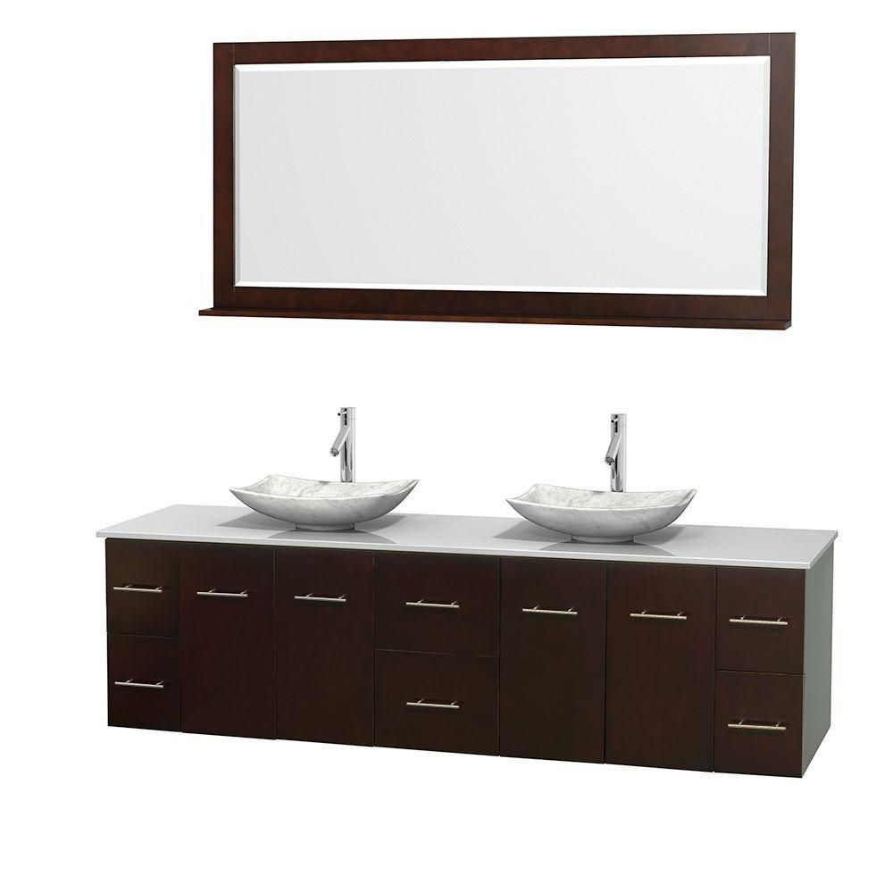 Meuble double Centra 80 po. espresso, comptoir solide, lavabos blanc Carrare, miroir 70 po.