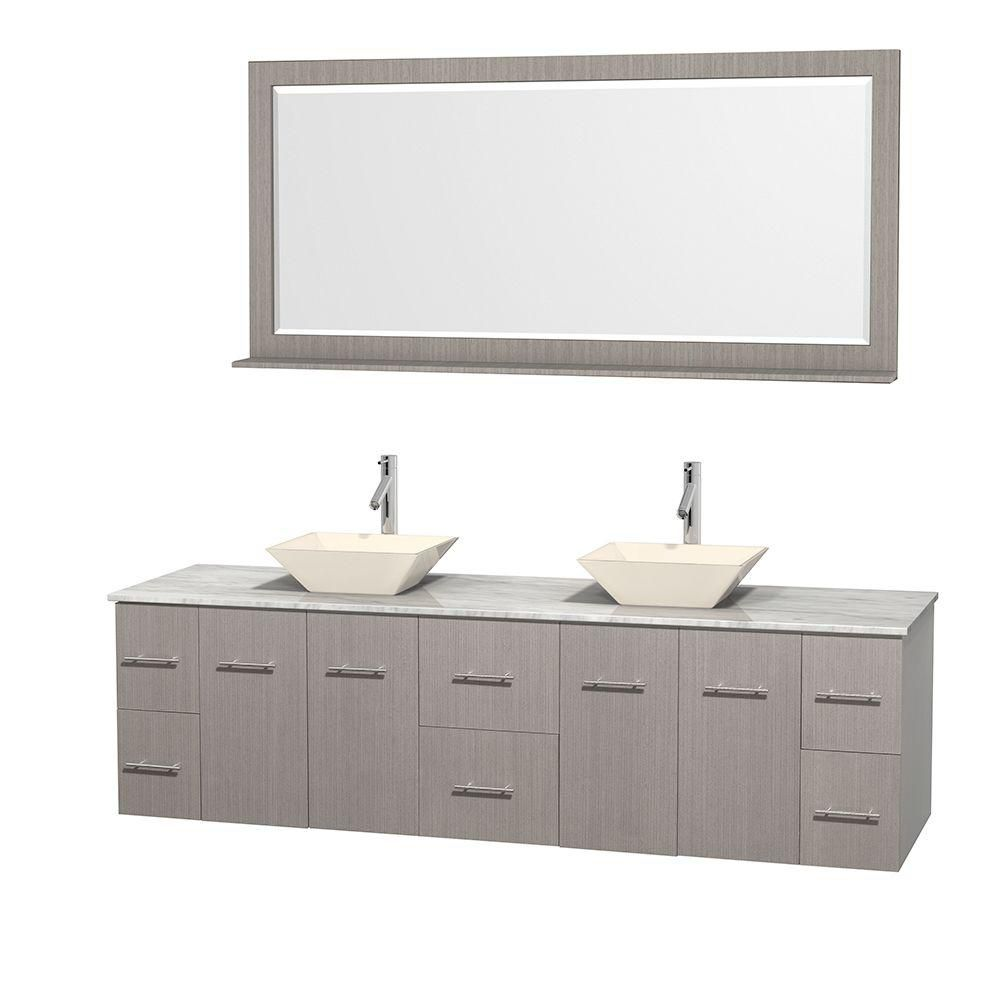 Centra 80-inch W Double Vanity in Grey Oak with White Top with Bone Basins and Mirror