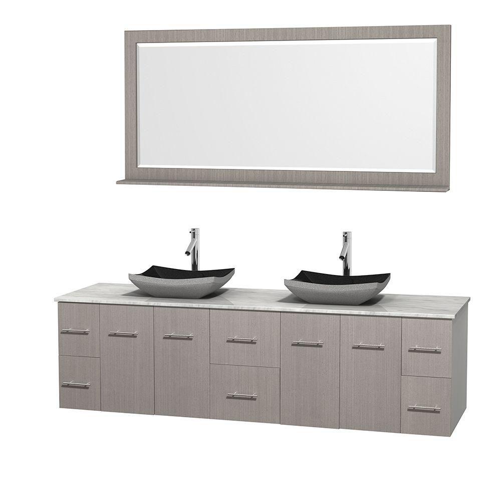 Meuble double Centra 80 po. chêne gris, comptoir blanc Carrare, lavabos granit noir, miroir 70 po...