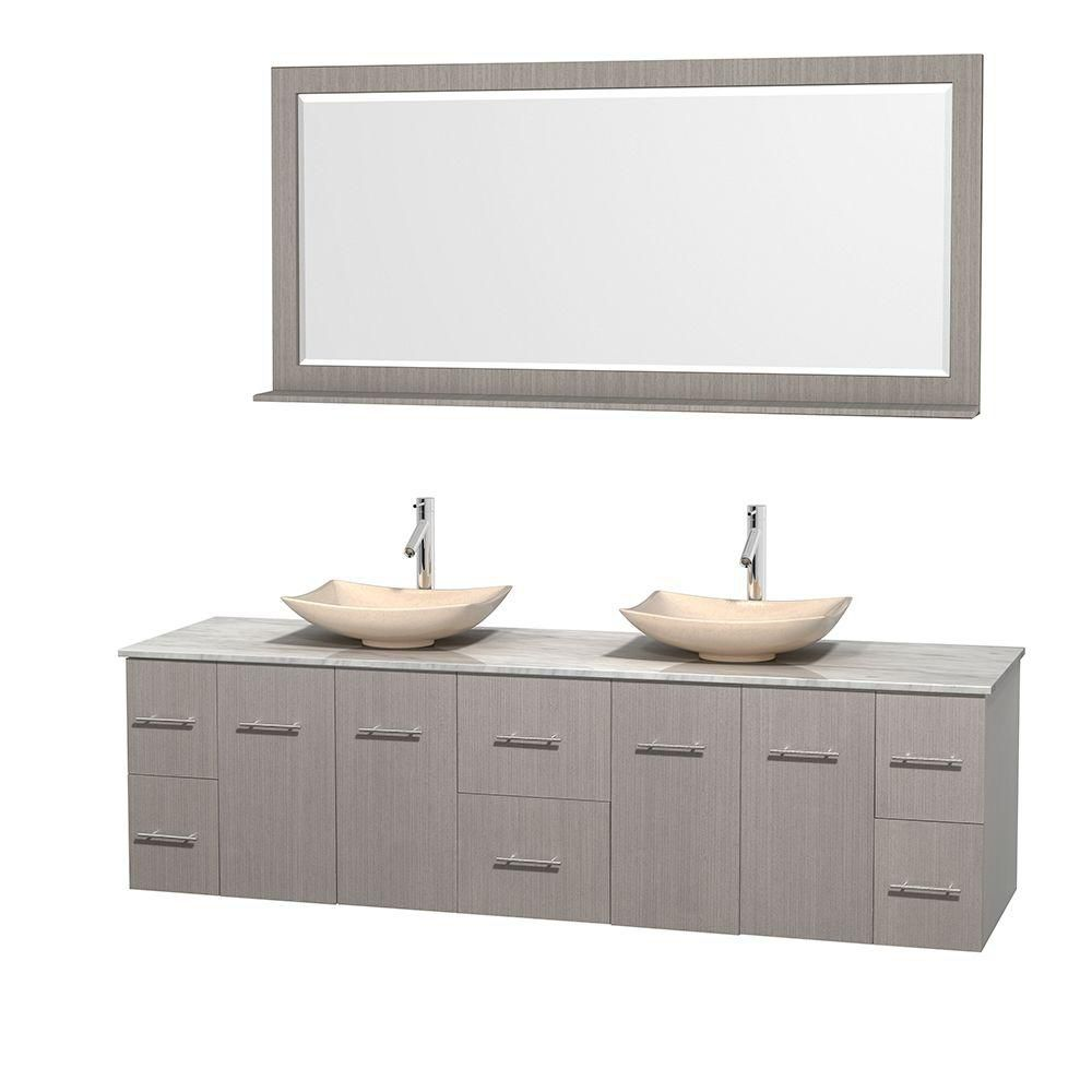 Centra 80-inch W Double Vanity in Grey Oak with White Top with Ivory Basins and Mirror