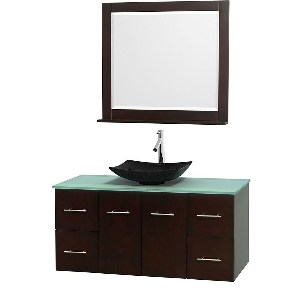 Centra 48-inch W Vanity in Espresso with Glass Top with Black Basin and Mirror