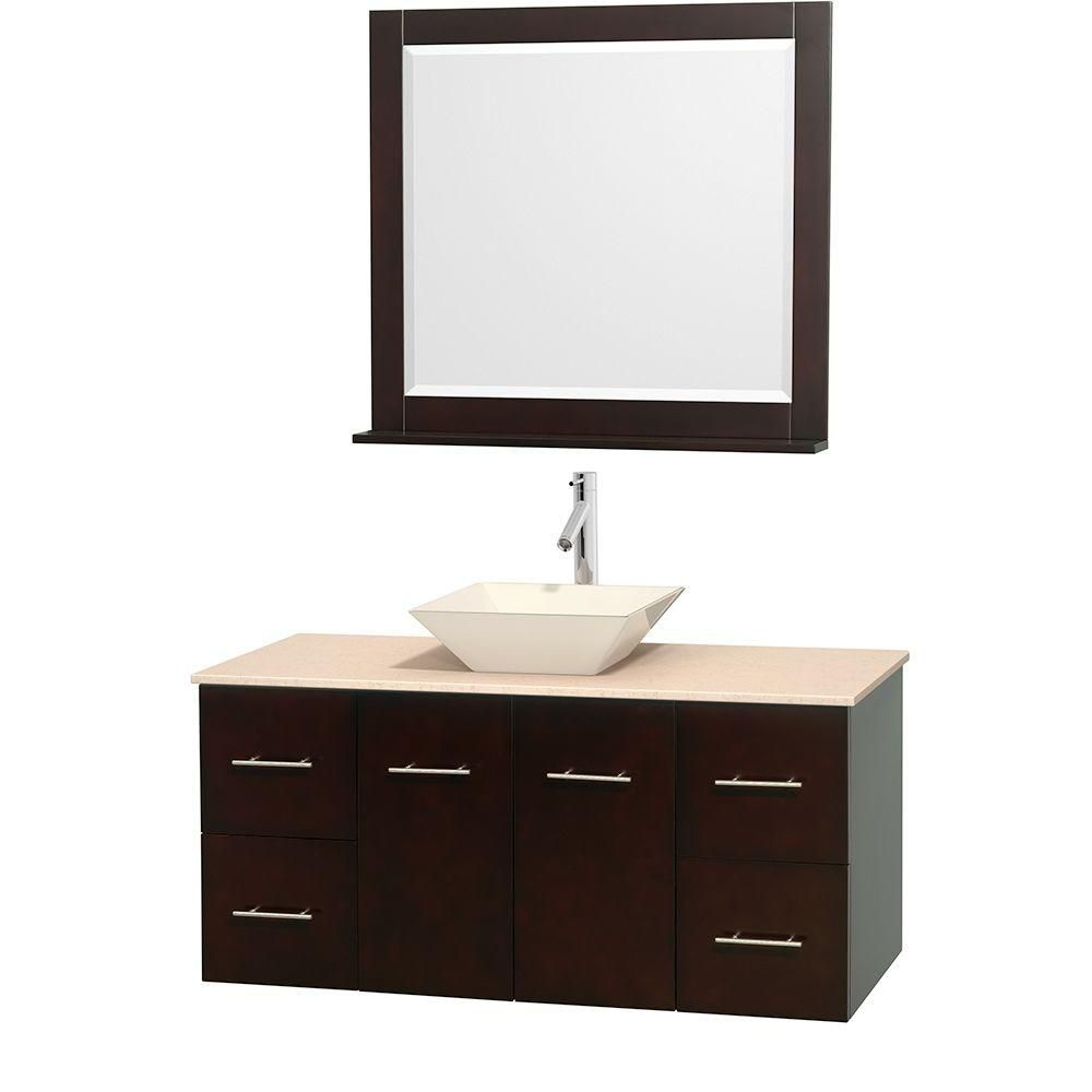 Centra 48-inch W Vanity in Espresso with Marble Top in Ivory with Bone Basin and Mirror