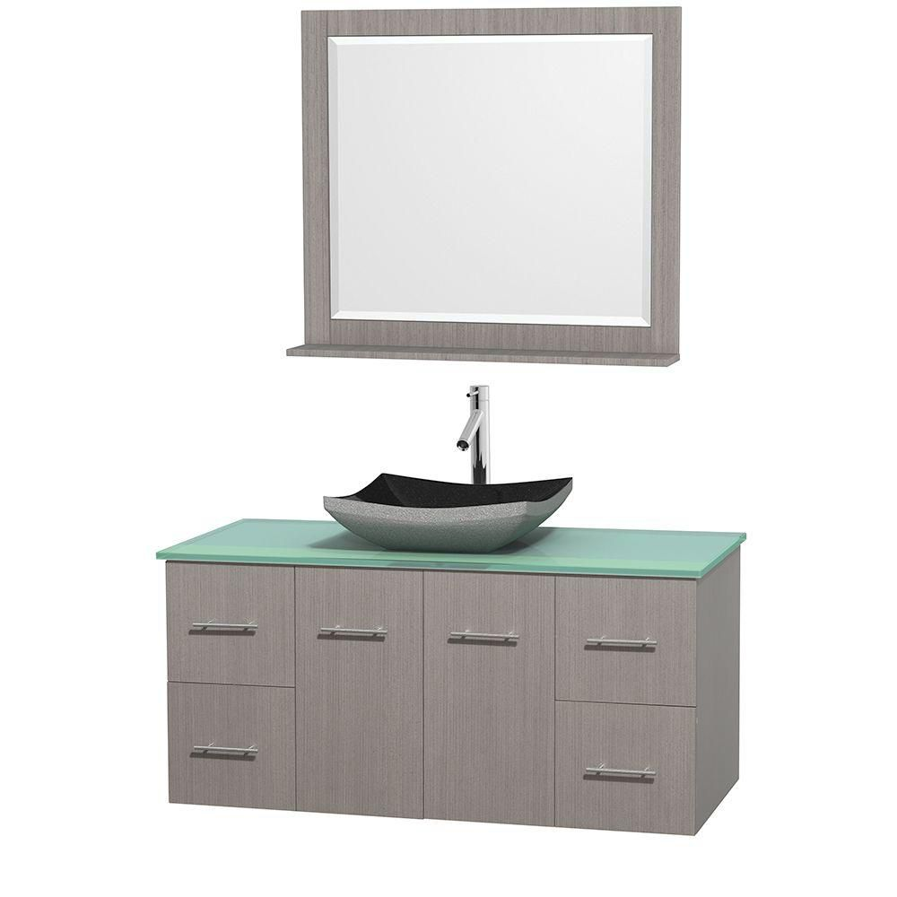 Centra 48-inch W Vanity in Grey Oak with Glass Top with Black Basin and Mirror
