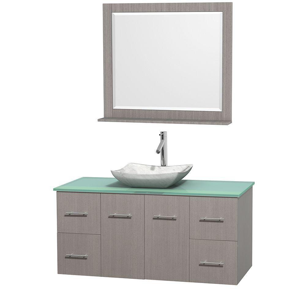 Meuble simple Centra 48 po. chêne gris, comptoir verre vert, lavabo blanc Carrare, miroir 36 po.