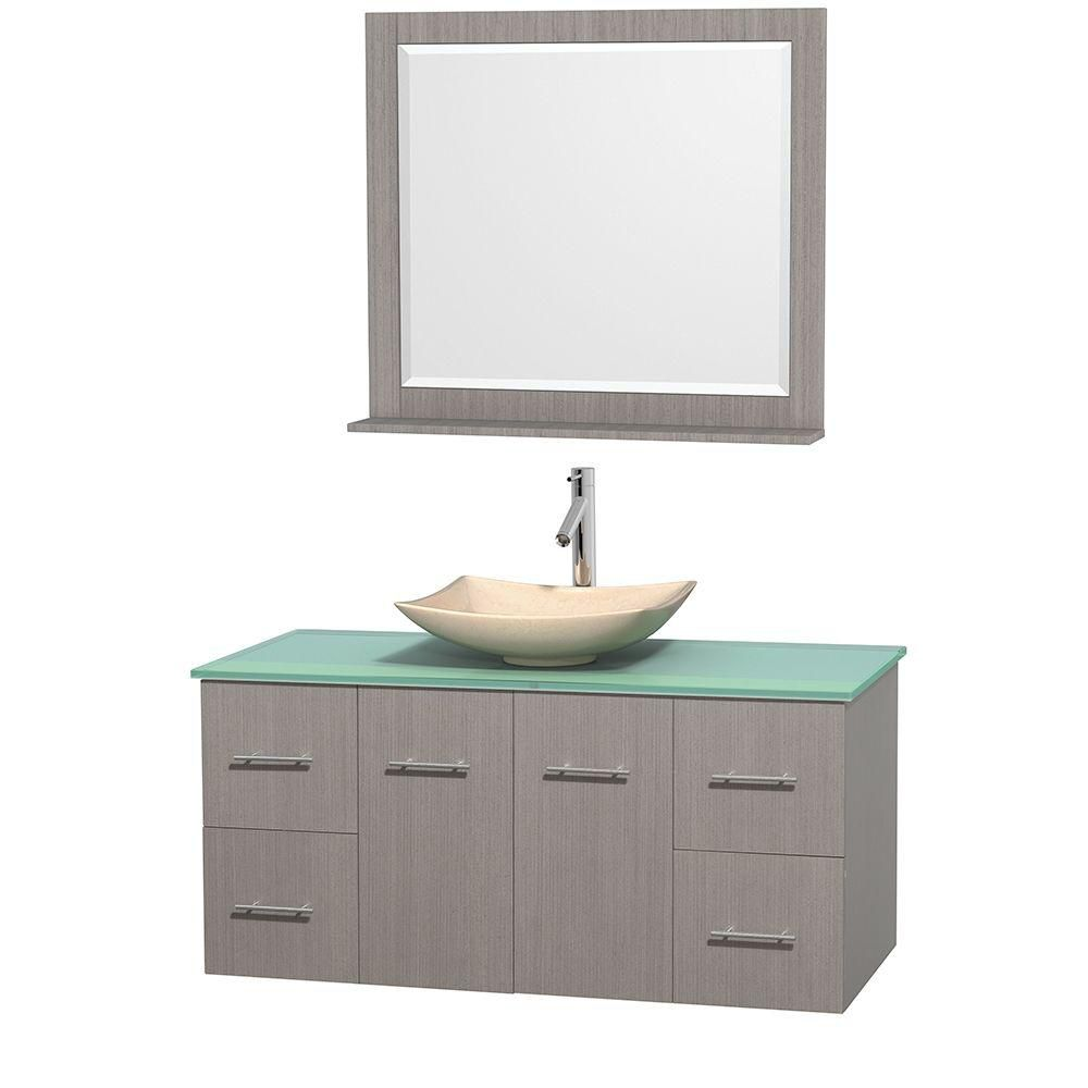 Centra 48-inch W Vanity in Grey Oak with Glass Top with Ivory Basin and Mirror