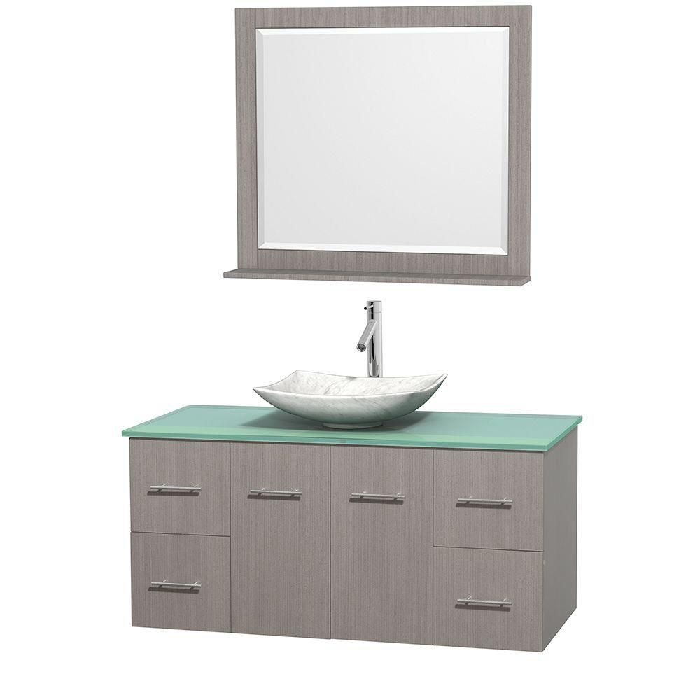 Centra 48-inch W Vanity in Grey Oak with Glass Top with White Basin and Mirror
