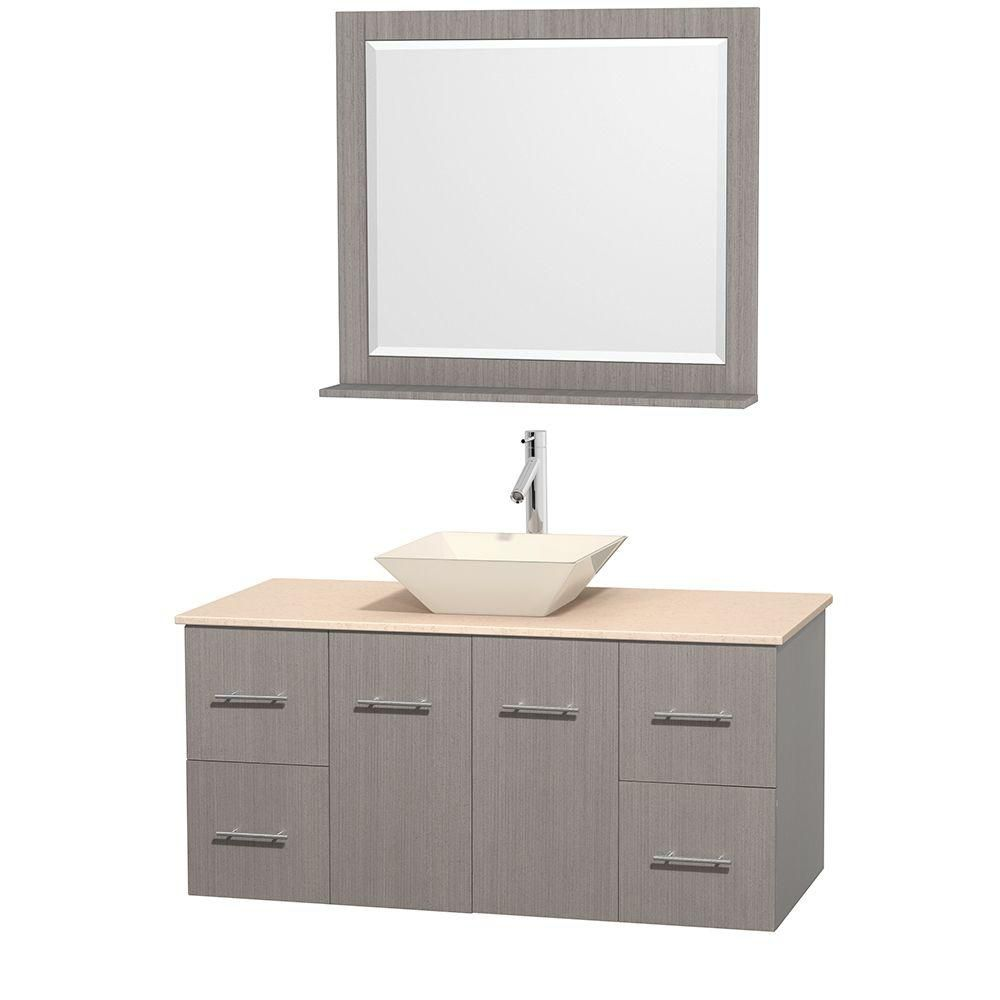 Centra 48-inch W Vanity in Grey Oak with Marble Top in Ivory with Bone Basin and Mirror