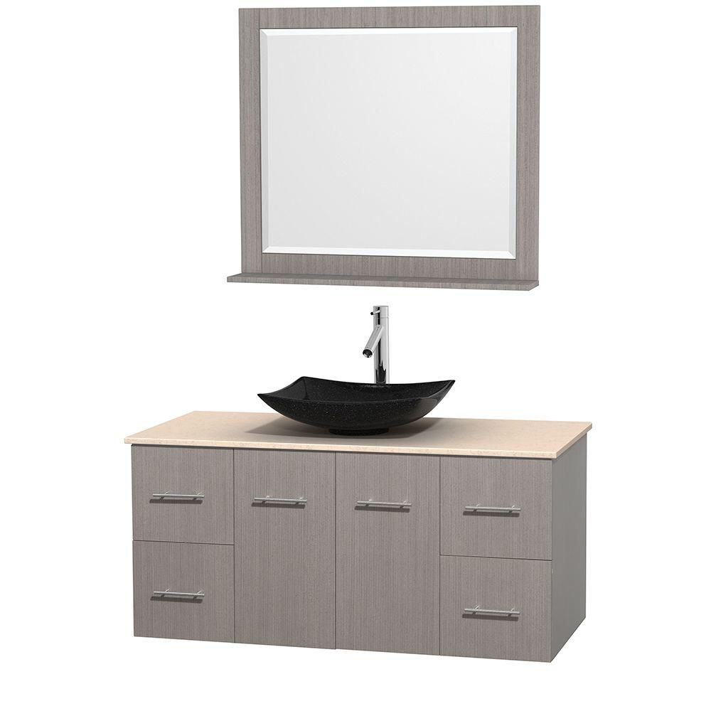 Centra 48-inch W Vanity in Grey Oak with Marble Top in Ivory with Black Basin and Mirror