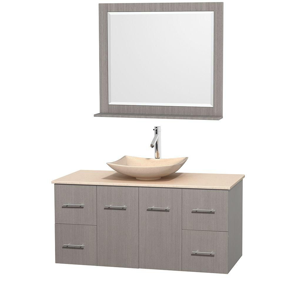 Centra 48-inch W Vanity in Grey Oak with Marble Top in Ivory with Ivory Basin and Mirror